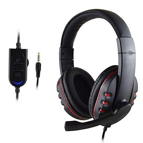 Delleu 3.5mm Wired Headphones with Mic for PC/MAC/PS4,Over-Ear Noise Light Cancelling PS4 Gaming Headset