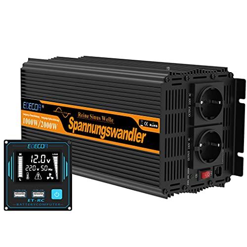 EDECOA Inverter 12v 220v Onda Pura 1000w con telecomando 2x USB e schermo LCD per camper pannello solare auto barca Onda Sinusoidale Pura Convertitore