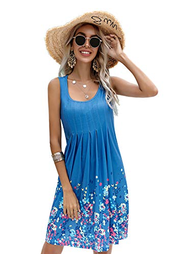 Yidarton Damen Sommerkleid Gedruckt Knielang Ärmellos Rundkragen Strandkleid Lose Sommerkleid (XL, Blau)