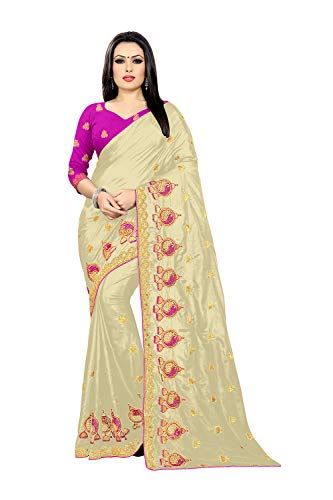 Designer Sarees for Indian Womens Traditional Sana Silk Partywear Exclusive Cream Sari with Unstitched Blouse. ICW2860-1