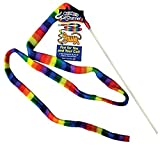 Multicolored fleece strip on wand for cats to chase