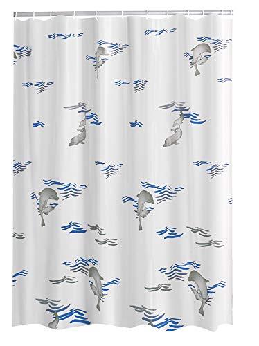 Ridder Delphin Folien-Duschvorhang, 100prozent PEVA, blau, ca. 180x200 cm