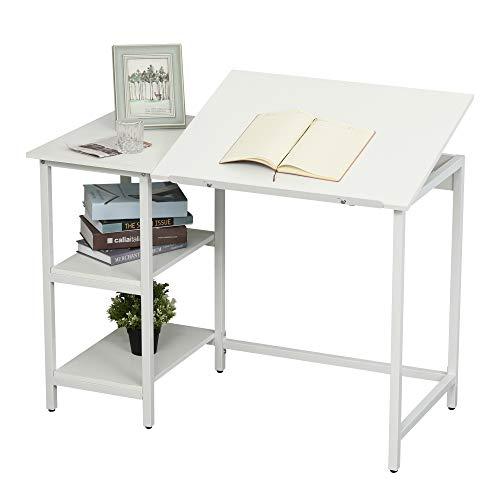 Homcom Table à Dessin Bureau inclinable Design Contemporain dim. 110L x 55l x 76H cm 2 étagères Panneaux Particules métal Blanc