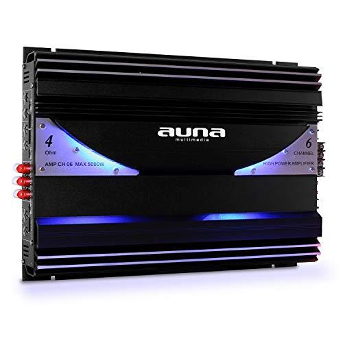 auna AMP-CH06-6-Kanal-Verstärker, Car Amplifier, Auto-Endstufe, 570W RMS Leistung, Hoch- / Niedrigpegel-Eingänge, regelbarer Tiefpass-Filter, 20 Hz bis 20 kHz Frequenzbereich, Graphitschwarz