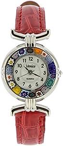 GlassOfVenice Reloj Millefiori de cristal de Murano con correa de piel, color plateado y rojo