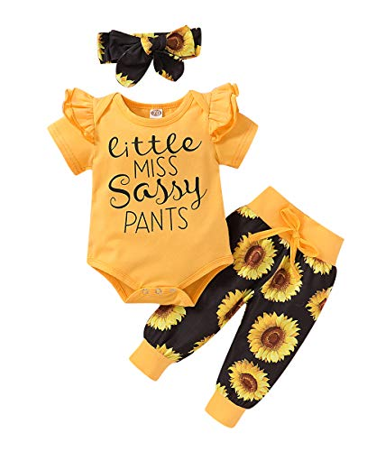 Baby Girls Newborn 3PCS Clothes Outfits Infant Romper Ruffle Onsies Floral Pants Cute Toddler Baby Girl Clothes Set (Yellow, 3-6 Months)