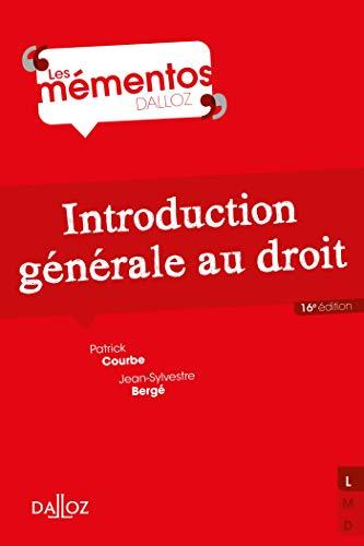 Introduction générale au droit - 16e éd. (Mémentos)