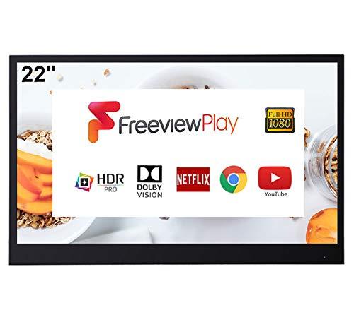 Televisor Soulaca Smart Negro TV de 22 Pulgadas para Baño IP66 a Prueba de Agua con Wi-Fi Integrado