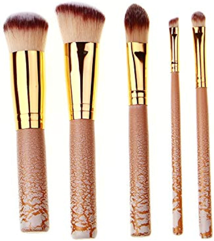 Fashion GoodLooking Foundation Brush, Mask Brush, Eye Shadow Brush, Eyeliner Brush Crackle Lacquer Process 5pcs Makeup Brush Set Pretty (color   Apricot Brown)