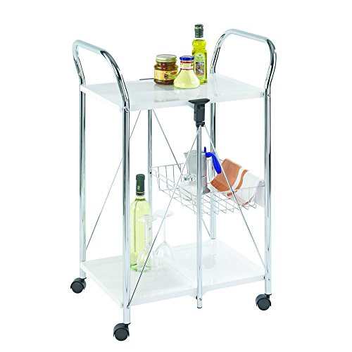 Wenko 900030100 Sunny Storage and Kitchen Trolley Can be Folded Together Tray Chrome 60 x 90 x 44 cm White