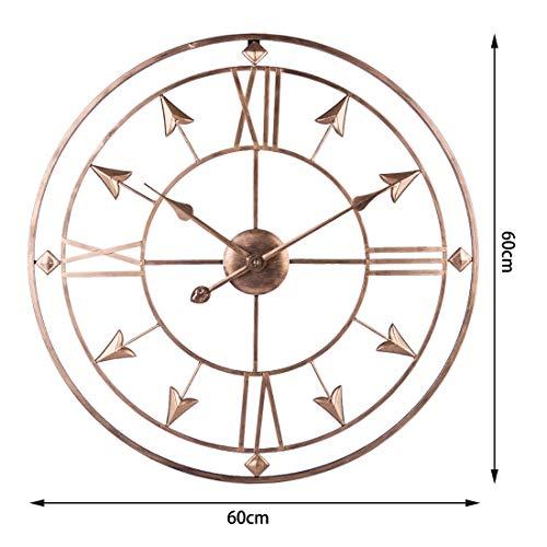 ZUJI Reloj de Pared Retro Silencio Reloj Hierro, 60 cm/24 Pulgadas
