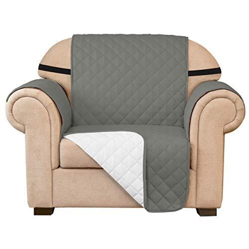 subrtex Funda de sofá Reversible Acolchada para 1,2,3 plazas Funda de Silla Antideslizante para Mascotas y niños con Correas Elásticas Protector de Muebles (1 Plaza, Gris Claro)