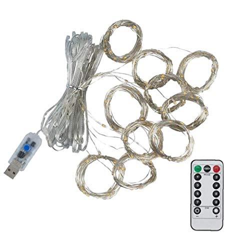 LAANCOO Cortina de Luces de Cadena accionado USB de Ventana Luz de Navidad con 8 Modos de Control Remoto 300Leds para la decoración del Dormitorio Fiesta de Navidad (luz Blanca cálida)