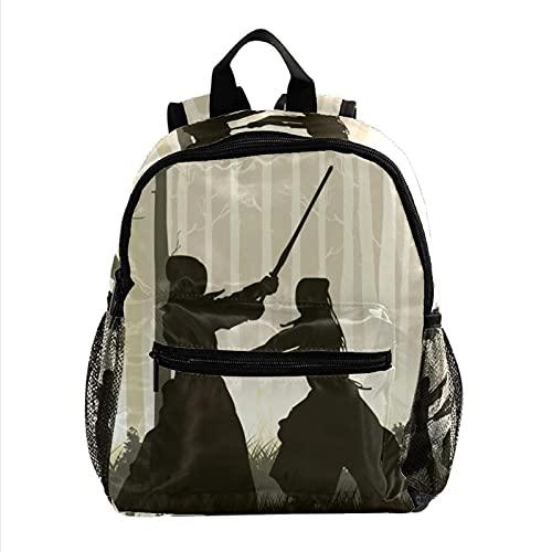 Mochila Escolar Kendo japonés Mochila para Niños 3-8 Años Infantil Guarderia Backpack 25.4x10x30 CM