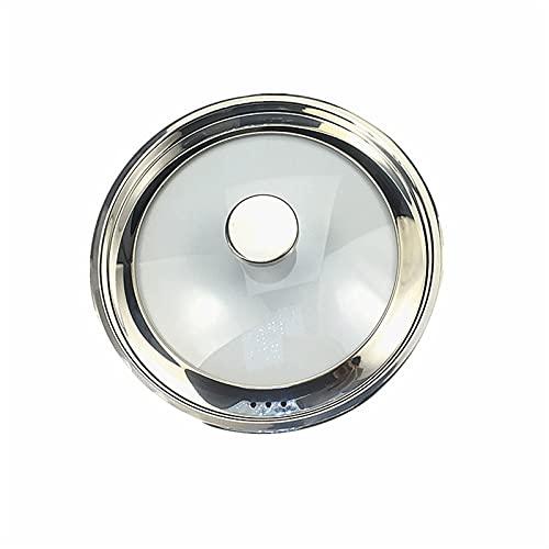 Coperchio di vetro e fiocco di silicone resistente, versatile, facile da usare per vasi e coperchio in acciaio inox coperchio in acciaio inox piatto zuppa pentola Visibile in vetro temperato 7-8.6inch