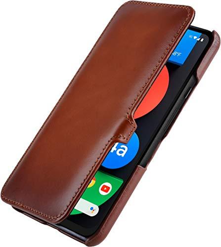 StilGut Book Hülle kompatibel mit Google Pixel 4a 5G Hülle aus Leder mit Clip-Verschluss, Lederhülle, Klapphülle, Handyhülle - Cognac Antik