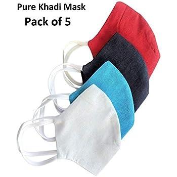 HSR Washable Reusable Pure 100% Khadi Organic Face Mask - Pack of 5