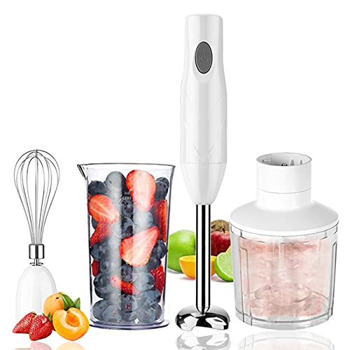 YWEN Hand Blender, 4 in 1 Stick Blender Hand Blenders Electric with 500ml Food Processor, 600ml Beaker, Whisk, Egg Whisk,Stainless Steel Blade, for Smoothies, Soups, Sauces, Baby Food