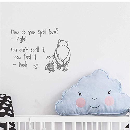 Adesivi murali Adesivo da parete in vinile Amore Winnie The Pooh Preventivo Cameretta per bambini Scuola materna Decorazione Poster Adesivo murale Cartoon Art Decor 58 X 79 cm