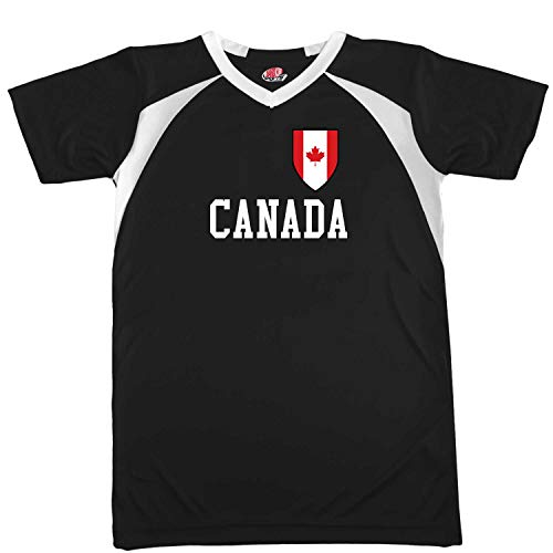Custom Canada Soccer Jersey Adult Small in Black and White