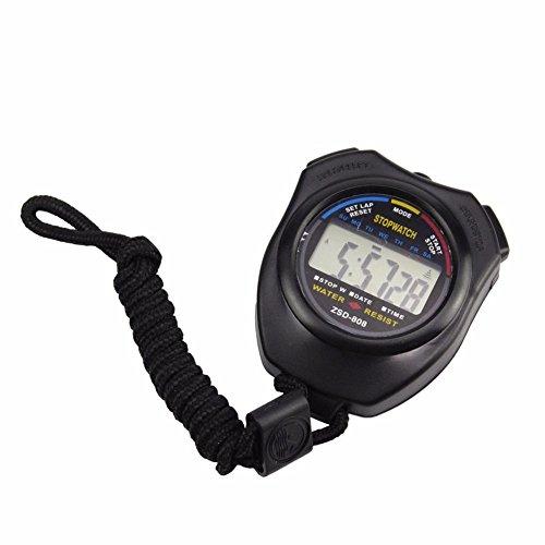 LANSKIRT Digitale Stoppuhr Timer Handheld Digital Stoppuhr Training Digitale Stoppuhr Sekunden Precision Timer Für Fussball Sports Training, Schwarz (Schwarz)