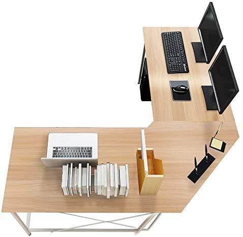 Game Tables and Home Office Computer Desk L-Shaped Corner Desk Workstation Laptop Computer Desk Study Desk Computer workstations Zhuojiao,Beige