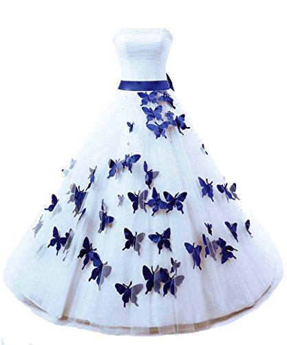 Vantexi Damen Trägerlos Lang Ballkleider Perlen Brautkleid Hochzeitskleider Weiß & Blau Größe 52
