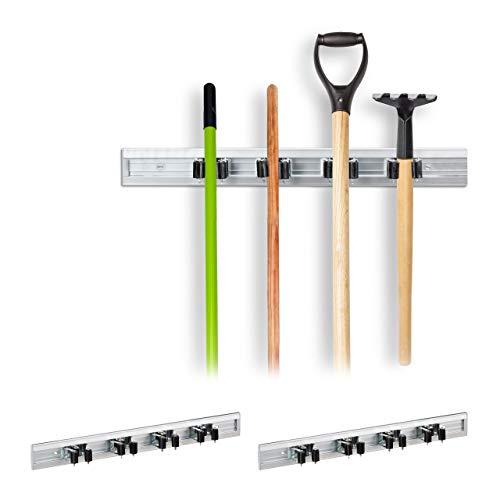 Relaxdays 3 x Gerätehalter Wandhalterung, Werkzeughalter für Wand, Ordnungsleiste Metall, Gartengeräte, Aluminium, Silber