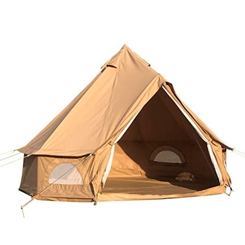 Outdoor Waterproof Bell Tent for Family Camping and Occasional Family Camping Trips and Festivals in All Seasons (Khaki, 10ft)