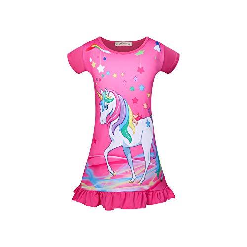 Einhorn Nachthemd für Mädchen Pferd Kleid Einhorn Prinzessin Nachthemden Kurzarm Kinder Schlafanzüge 6-7 Jahre