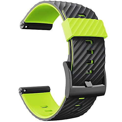 KINOEHOO Correas para relojes Compatible con Suunto 7/9/9 baro/D5/spartan sport Pulseras de repuesto.Correas para relojesde silicona.(Verde negro)