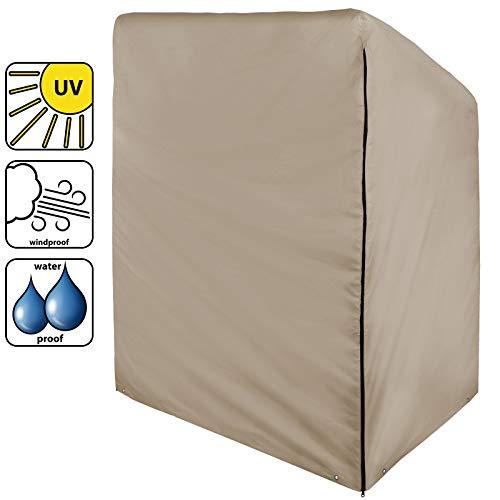 BB Sport Abdeckung Schutzhülle für Strandkorb mit den Maßen 175/140 x 135 x 105 cm, wasserdicht mit verstärktem Rand und Metallösen, Farbe:Sandstrand (PES)