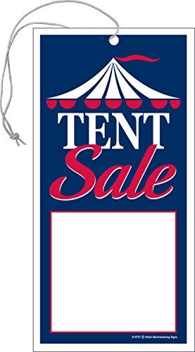 S10TET Tent Sale Elastic Knotted Price Sale Tags with Strings Merchandising Hang Tags Pack of 100 (2 5/8' x 5 1/4')