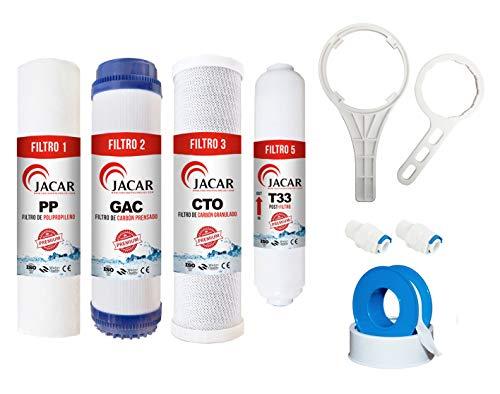 Jacar - Kit Filtros de Osmosis Inversa 5 Etapas + Llave teflón y Terminales | Filtros Depuradores de Agua - Alta compatibilidad