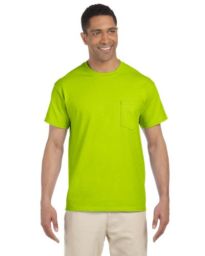 Gildan Mens Ultra Cotton 100% Cotton T-Shirt with Pocket, Small, Safety Green