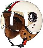 ASY Casco Abierto para Motocicleta, Aprobado por ECE, Casco Retro De Harley, Medio Casco para Carreras De Motos, Casco De Piloto A Reacción, Motocross, Vespa, Ciclomotor (Size : XL-C)