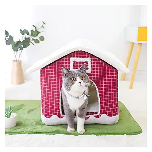 SGFEHAN Cama para Mascotas Casa Interior cálido Kennel Mascota Gato Cueva Nido Cueva Conejo Nido Lavable removible Estera Acogedor Dormir