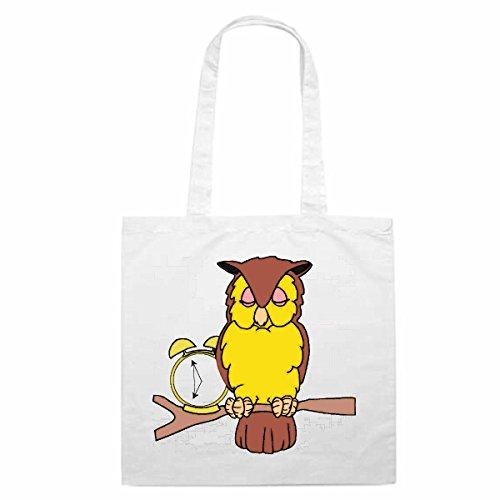 Tasche Umhängetasche Motiv Nr. 11621 Eule mit Uhr Wecker Cartoon Comic Zeichentrick Einkaufstasche Schulbeutel Turnbeute