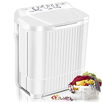 Nictemaw Portable washer Compact Twin Tub Washing Machine 21.6lbs, Mini Washer(13.6lbs)&Dryer(8lbs) Semi-Auto with Time Control Function for Home/Apartments/Dorms/RV (White)