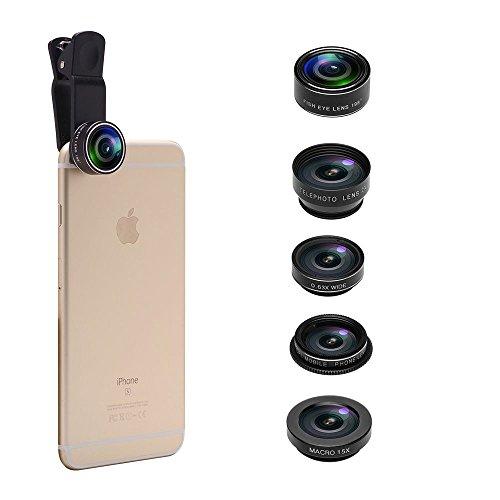 5 in 1 Phone Camera Lens Kit, 2X Optical Zoom Telephoto Lens & 198� Fisheye Lens & 0.63x Wide Angle Lens & 15x Macro Lens & CPL Lens for iPhone 6/7/6s Plus/SE, Samsung S7/S6/Edge, LG, Moto, HTC & more