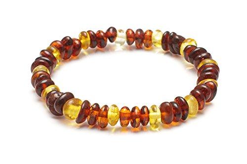 iLikeAmber.com Stretchy Amber Bracelet Anklet - Best Baltic Amber Quality on Amazon - Size 18.5 cm - 100 Days