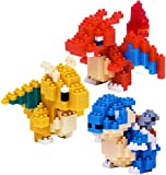Nanoblock Building Blocks Pokemon Charizard (200pcs), Dragonite (190pcs) & Blastoise (220pcs) Gift...