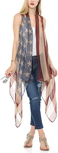 Top Women s American Flag Shawl USA Red Blue Printed Novelty Scarf Vest Casual Gauzy Loose Open product image