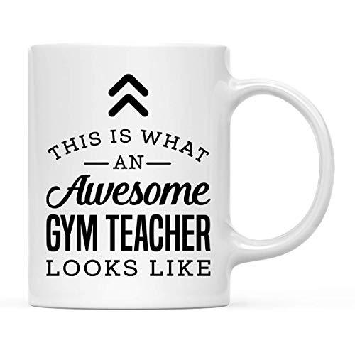 Taza de té de cerámica de 350 ml, con texto en inglés 'This is What awesome Gym Teacher Looks Like', 1 unidad, regalo de cumpleaños ideal para el Coworker Him Her, incluye caja de regalo