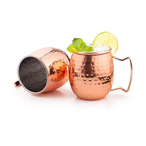 Royalty Art (4-Pack) Moscow Mule Copper Mugs with shot glass, Handles Classic Drinking Cup Set Home, Kitchen, Bar Drinkware Helps Keep Drinks Colder, Longer Food-Grade Safe Lining (16oz) copper