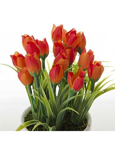 Home Line Kunstmatige tulpenplant met bloempot - Oranje
