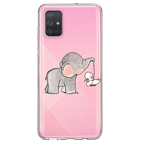 yiyiter Case Compatibel met Samsung Galaxy A51 Case Transparant Ultradun Cover Silicone Cover Clear Case Phone Case Clear Schokbestendig Case TPU Bumper Soft Case in de Samsung Galaxy A51, Samsung Galaxy A51, Olifantenkoffer baby olifant schommelen