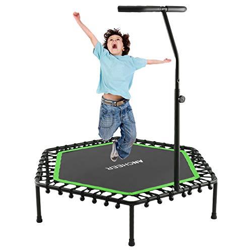 ANCHEER Trampoline, Mini Rebounder Trampoline with Adjustable Handle, Indoor/Garden/Workout Cardio, Parent-Child Twins Trampoline, Max Load 220lbs, Green