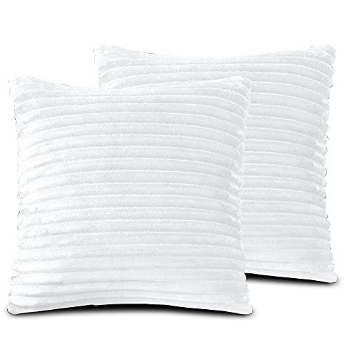 FARFALLAROSSA Örngott av mikrofiber med dragkedja, vit (2-pack) 30 x 50 cm, kvadratisk, för soffkuddar, lämpliga för alla årstider, enfärgad