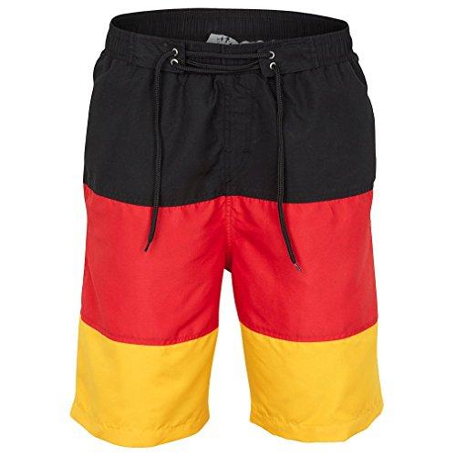 elnaTex Herren Badeshorts Deutschland schwarz-rot-Gold Germany (XL)